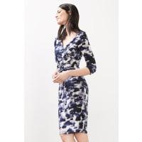 EspritStretchjurk met print en drapering Navy for Women