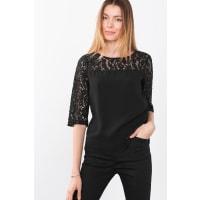 EspritBlouse met structuur en kanten details Black for Women