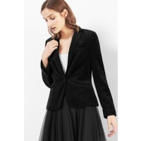 EspritGetailleerde fluwelen blazer Black for Women