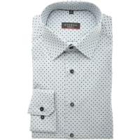 EternaHemd Modern Fit schwarz/weiß/grau, Gepunktet