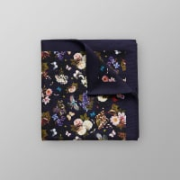 EtonNavy Floral Cotton & Silk Pocket Square