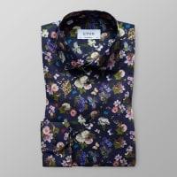 EtonNavy Floral & Fauna Print Shirt