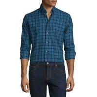 EtonPlaid Long-Sleeve Woven Sport Shirt, Navy/Turquoise