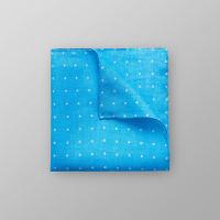 EtonTurquoise Dotted Linen Pocket Square