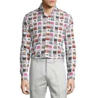 EtonTypewriter-Print Long-Sleeve Sport Shirt, Multi