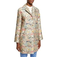EtroFloral-Jacquard Single-Breasted Coat, Light Blue/Silver/Green/Peach