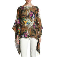EtroGeometric-Print Silk Poncho Top, Black/Gold