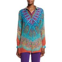 EtroMandala-Print High-Low Silk Blouse, Pink/Purple