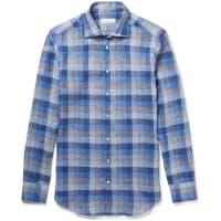 EtroMercurino Slim-fit Checked Linen Shirt - Blue