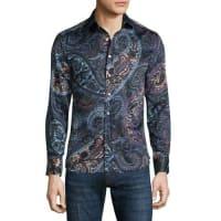 EtroMulti Paisley-Print Long-Sleeve Sport Shirt, Black Multi