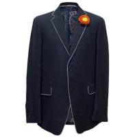 EtroNavy Blue Blazer With An Orange Rose