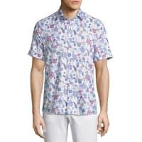 EtroPaisley Short-Sleeve Sport Shirt, White/Blue