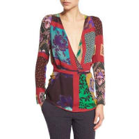 EtroPatchwork Wrap Silk Blouse, Red