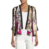 EtroPostcard-Print Cotton Jacket, Ivory