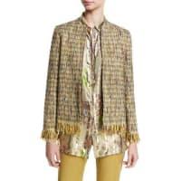 EtroReversible Tweed Fringe Jacket, Green