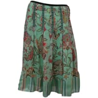 EtroSeafoam Silk Chiffon Paisley Print Skirt With Striped Silk Bottom - 42
