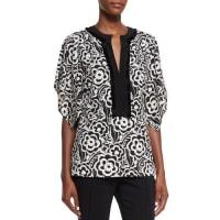 EtroSplit-Neck Kimono-Sleeve Blouse, Black/White