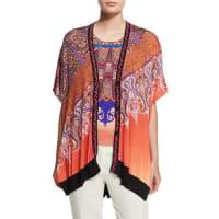 EtroStampa Embroidered-Trim V-Neck Poncho Cardigan, Orange/Purple