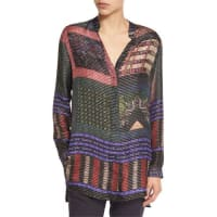 EtroStriped Button-Front Tunic Blouse, Purple/Red