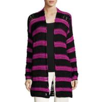 EtroStriped Net Knit Cardigan, Black/Pink