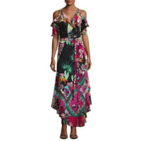 EtroTropical-Print Cold-Shoulder Wrap Dress, Black