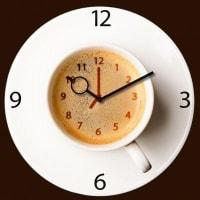 EurographicsWanduhr aus Glas, Eurographics, »Its Coffee Time«, 30/30 cm