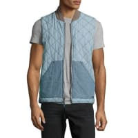 FahertyQuilted Chambray Vest, Indigo