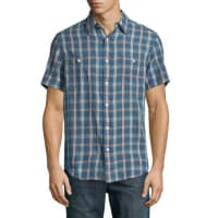 FahertySS Seasons Check Work Shirt, Indigo
