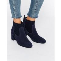 FaithBriony - Stivali a calza con tacco scamosciati blu navy - Blu navy