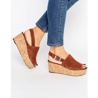 FaithDamage Tan Cork Effect Wedge Sandals