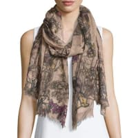 Faliero SartiBacche Floral Wool-Blend Scarf, Blush