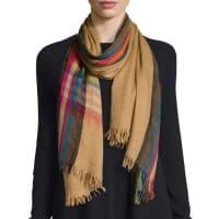 Faliero SartiBill Wool & Silk Scarf, Orange/Multicolor