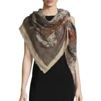 Faliero SartiRosalia Floral Wool & Silk Scarf, Brown/Beige