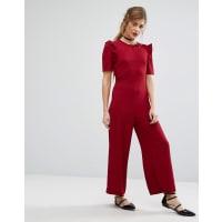 Fashion UnionRuffle Sleeve Jumpsuit - Berry