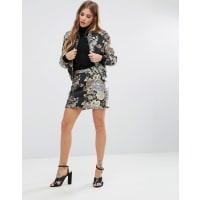 Fashion UnionMetallic Embroidered Skirt Co-Ord - Multi