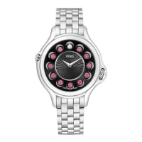 FendiCrazy Carats Stainless Steel Topaz Watch with Black Dial, 2.9 TCW