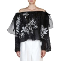 FendiFloral-Embroidered Off-the-Shoulder Blouse, Black/White