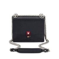 FendiKan I Mini Leather Chain Shoulder Bag, Black