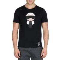 FendiKarlito Studded Short-Sleeve Tee, Black