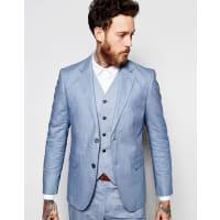 FéraudPremium 55% Linen Suit Jacket in Pale Blue - Blue