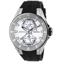 FestinaMens Quartz Watch With White Dial Analogue Display And Black Rubber Strap F166111