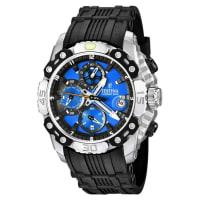 FestinaMens Tour De France F165435 Black Rubber Quartz Watch With Blue Dial