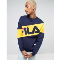 FilaFila Black Sweatshirt With Large Diagonal Logo - Navy