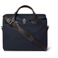 FilsonOriginal Leather-trimmed Twill Briefcase - Storm blue