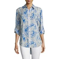 Finley3/4-Sleeve Button-Front Printed Shirt, Blue Multi