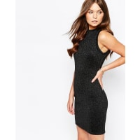 First & IMetallic Bodycon Dress with High Neck - Black