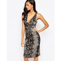 Forever UniqueInca Plunge Front Lace Midi Dress - Black