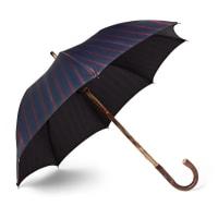 Francesco MagliaLord Chestnut Wood-handle Striped Twill Umbrella - Navy