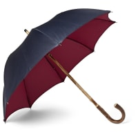 Francesco MagliaLord Chestnut Wood-handle Two-tone Twill Umbrella - Navy