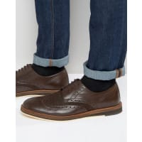 Frank WrightTextured Brogues In Brown Leather - Brown
